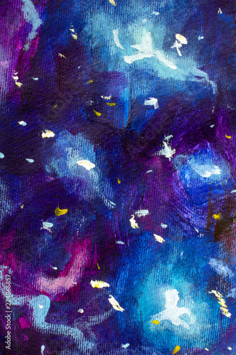 Fototapety, obrazy: Oil painting on canvas. Blue-violet cosmos, the universe, star galaxies. Modern art. Hand-drawn art.