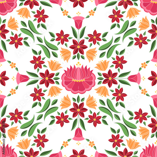 hungarian-folk-pattern-vector-seamless-kalocsa-floral-ethnic-ornament-slavic-eastern-european-print-isolated-traditional-embroidery-flower-design-for-vintage-wedding-invitation-gypsy-textile
