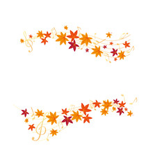 Vector Set Of Autumn Leaves With Musical Note