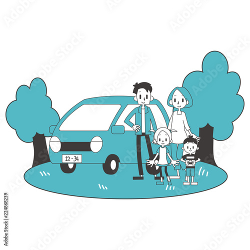 Staande foto Cartoon cars 家族 親子 自家用車