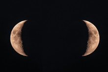 Two Half Moons Close Up Concept. Black Deep Cosmos Space Background. Copy Space