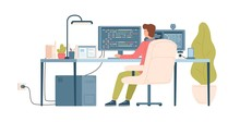 Programmer, Coder, Web Developer Or Software Engineer Sitting At Desk And Working On Computer Or Programming. Workplace Of IT Worker. Back View. Colorful Vector Illustration In Flat Cartoon Style.