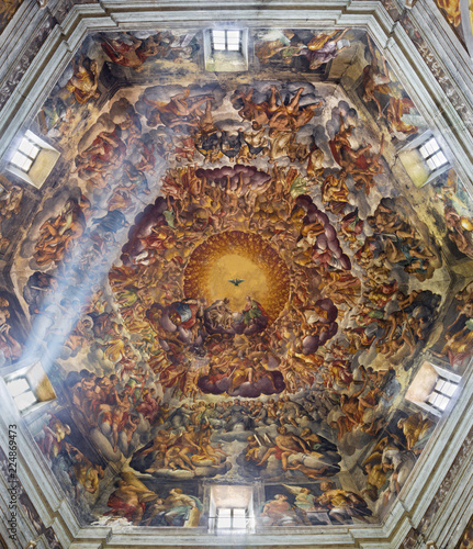 Valokuva  PARMA, ITALY - APRIL 16, 2018:  The Holy Trinity and saints in the glory in cupola of Chiesa di Santa Maria del Quartiere by P