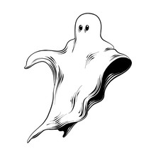 Vector Engraved Style Illustration For Posters, Decoration And Print. Hand Drawn Sketch Of Ghost In Black Isolated On White Background. Detailed Vintage Etching Style Drawing.