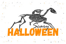Vector Engraved Illustration For Posters, Decoration And Print. Hand Drawn Sketch Of Skeleton Of Headless Horseman With Modern Typography Text. Detailed Vintage Etching Style, Scary Halloween