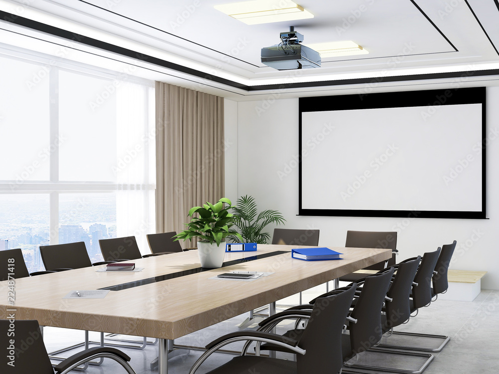 Fototapeta Large conference room, wooden table, chairs and projections