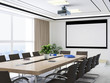 canvas print picture - Large conference room, wooden table, chairs and projections