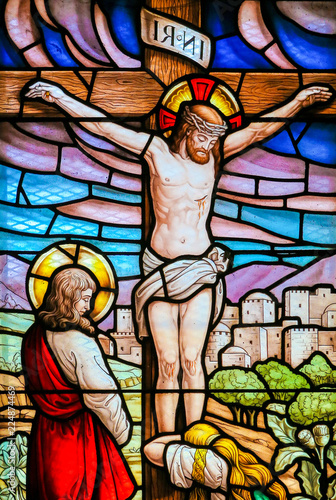 Tableau sur Toile Jesus on the cross - Stained Glass
