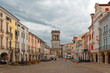 Este, Italy August 24, 2018: the clock tower on the main square in Este.