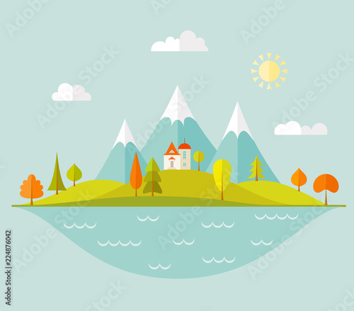 A house on a hill in the background of an autumn forest, a lake and mountains. Banner with a landscape in a flat style. Vector illustration.