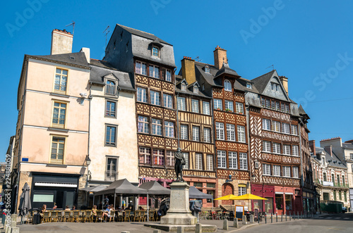 Tuinposter Oude gebouw Traditional half-timbered houses in the old town of Rennes, France