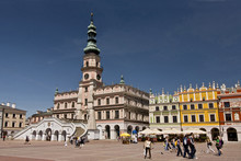 Poland, Old City Of Zamosc, The Central Square With The Old Town Hall.
