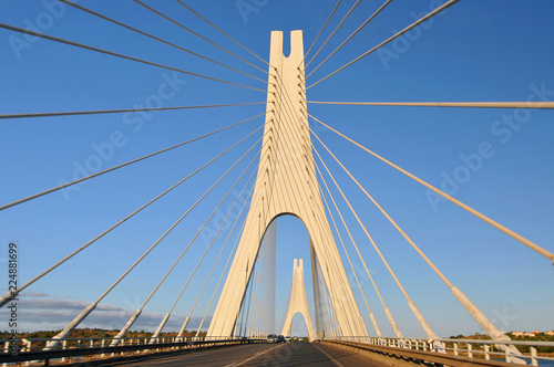 Keuken foto achterwand Bruggen Travel to Algarve Portugal, cable-stayed bridge near Portimao city (Portimao bridge).