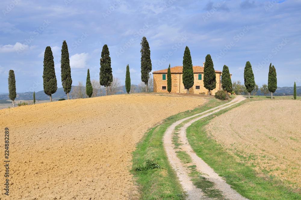 Farmhouse and Cypress trees near Pienza Tuscany Italy.