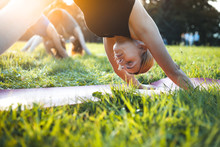 Yoga In The Park, Middle Age W...