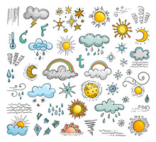 Icons Of Weather In The Doodle Style. Set Of Vector Elements.