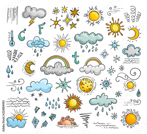 Fototapeta Icons of weather in the doodle style. Set of vector elements. obraz