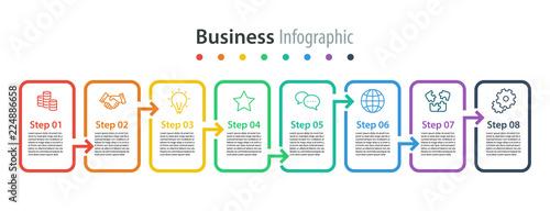 Photo  infographic element design 8 step, infochart planning