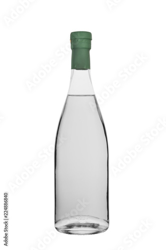 Fotobehang Bar bottle of vodka, moonshine and other strong colourless alcohol with a stopper isolated on a white background