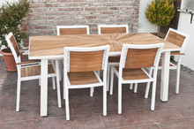Metal And Wood Outdoor Patio Furniture For Dining