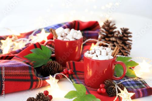 Staande foto Chocolade ホットチョコレート マシュマロ