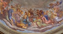 REGGIO EMILIA, ITALY - APRIL 12, 2018: The Fresco Of Angels With The Music Instruments In Cupola Of Church Basilica Di San Prospero By  C. Manicardi, G. Ferrari And A. Lugli (1884-1885).