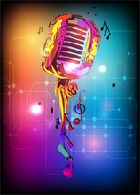 Music Background With Vintage Microphone. Vector Design For Music Festival, Karaoke And Concert.