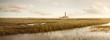 Wiesenlandschaft am Westerhever Leuchtturm Panorama
