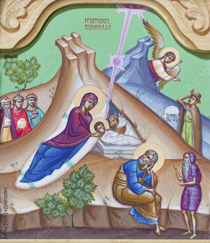 REGGIO EMILIA, ITALY - APRIL 12, 2018: The icon of Nativity on the iconostas in church Chiesa di San Giorgio in Reggio Emilia from 20 cent.