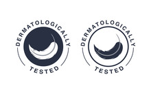 Dermatologically Tested Logo. Vector Feather Icons Of Hypoallergenic Package Label Or Dermatology Test Tag