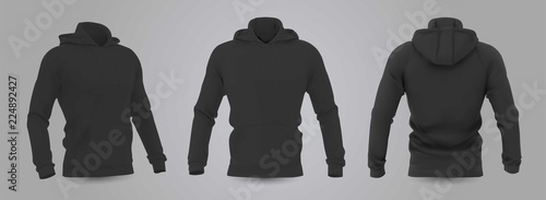 Fotografía  Black men's hooded sweatshirt mockup in front, back and side view, isolated on a gray background