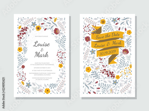 Fototapeta Wedding Invitation Botanical Style Template Save The Date Card Design With Ribbon Leaves Branches Flowers Frame Pattern On White