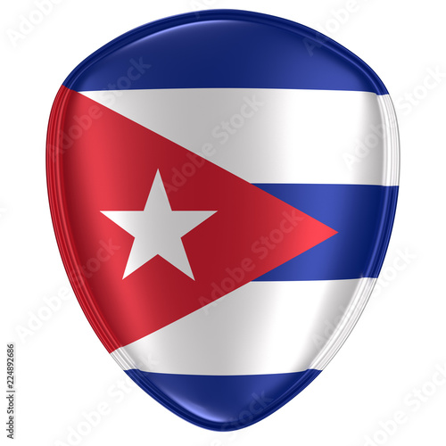 3d rendering of a Cuba flag icon. Wallpaper Mural