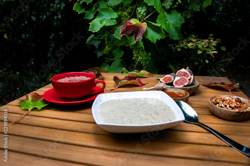 Autumn rustic breakfast bowl of porridge, hot chocolate, figs in apple orchard garden