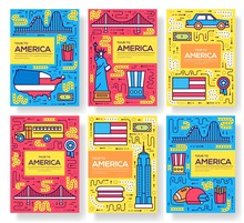 USA Vector Brochure Cards Thin Line Set. Country Travel Template Of Flyer, Magazines, Posters, Book Cover, Banners. Layout Culture Monument Outline Illustrations Modern Pages