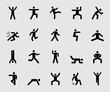 Silhouette icons set for Human exercise 1