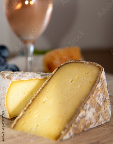 French hard cow or goat cheese Tomme or Tome, produced in French Alps