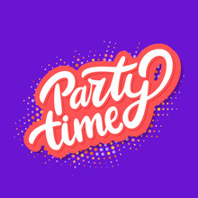 Party Time Banner. Vector Lettering.