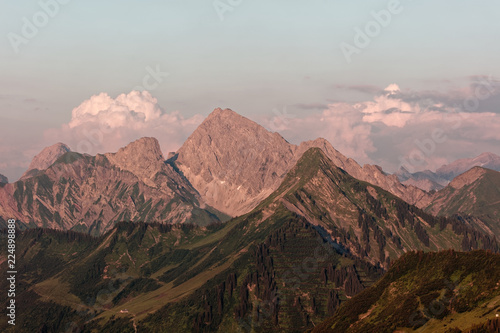 Foto auf Gartenposter Gebirge Furkajoch pass, Voarlberg, Austria - Sunset views over Bregenzerwald mountains from Furkajoch pass