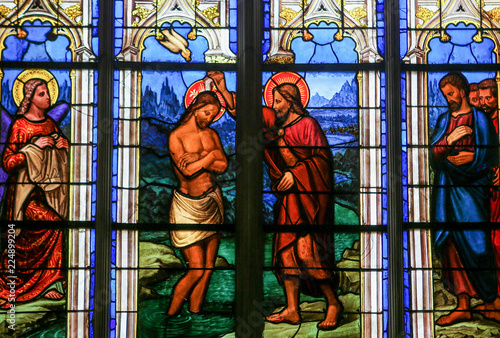 Fotomural Baptism of Jesus by Saint John - Stained Glass