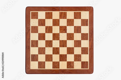 empty wooden chessboard isolated on white background, top view Wallpaper Mural