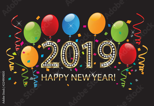 2019 Happy new year gold with balloons and confetti background vector