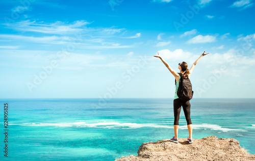 woman on top of mountain Wallpaper Mural