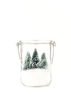Three Mini Christmas Trees And Snow In Glass Jar
