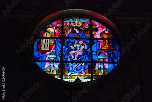 Stained glass in the Basilica of Santa Maria Maggiore in Italy Wallpaper Mural