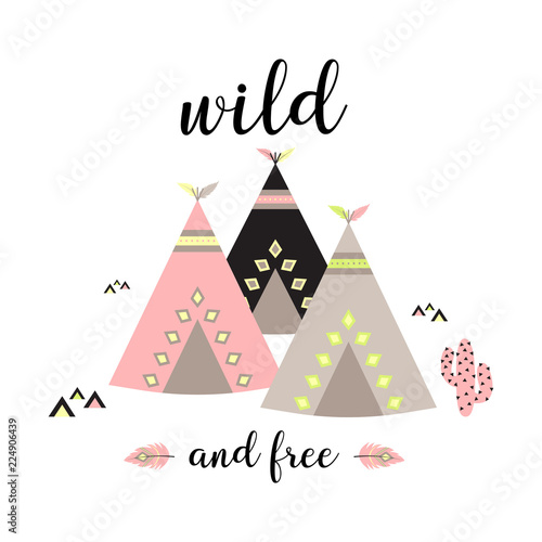 background with teepees Canvas-taulu
