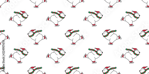 Bear Seamless Pattern Christmas Polar Bear Vector Santa