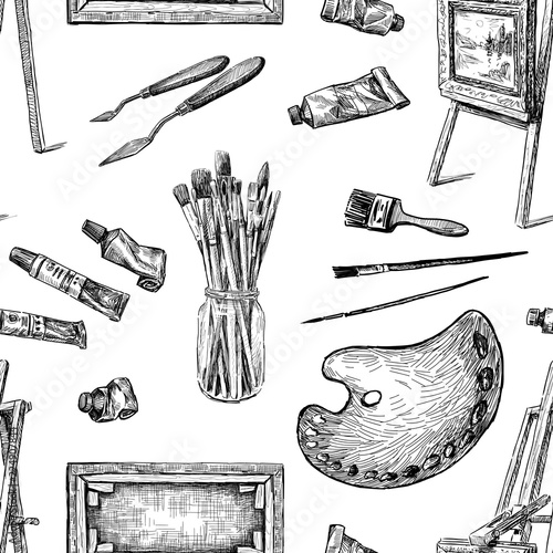 Vector background of tools for painting