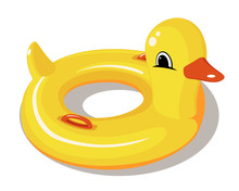 Yellow Rubber Duck Swimming Circle. Duck Float