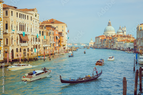 Printed kitchen splashbacks Channel Basilica Santa Maria della Salute, Venice, Italy. Landscape Grand Canal with gondolas and boats.